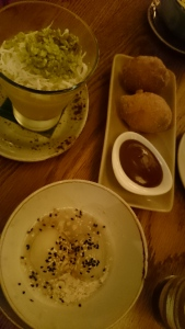 Mango mousse (left), hot soy milk doughnut with cinnamon (right), Bánh trôi Tàu - a traditional warm Vietnamese dessert (bottom)